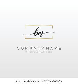 BM handwriting initial logo template vector.