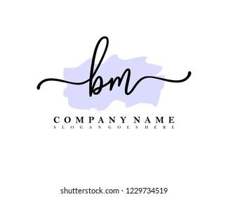 BM Initial handwriting logo vector