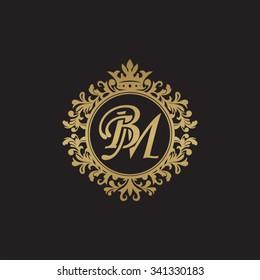 BM initial luxury ornament monogram logo