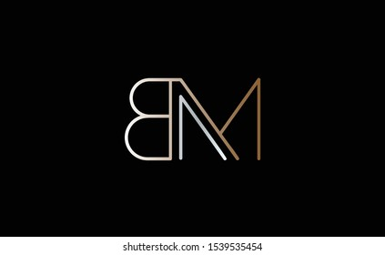 BM Letter Logo Design with Creative Modern Trendy Typography