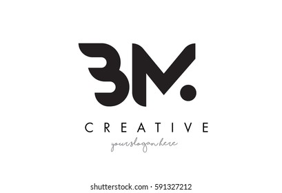 BM Letter Logo Design with Creative Modern Trendy Typography and Black Colors.
