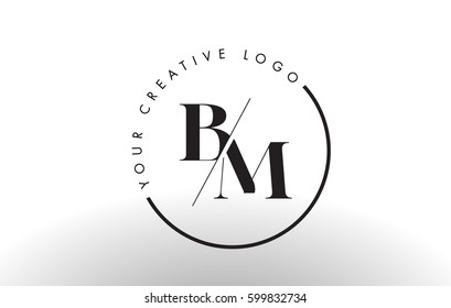 BM Letter Logo Design with Creative Intersected and Cutted Serif Font.