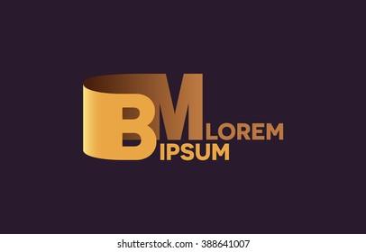 BM letters logo, B and M letters logo alphabet design.