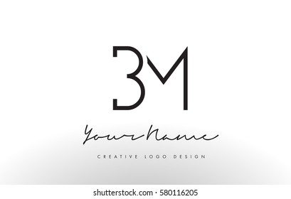 BM Letters Logo Design Slim. Simple and Creative Black Letter Concept Illustration.