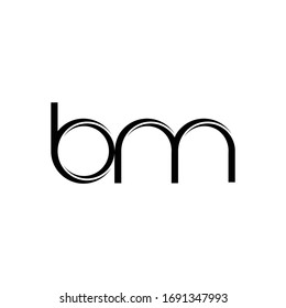 BM Logo monogram with slice rounded modern design template isolated on white background