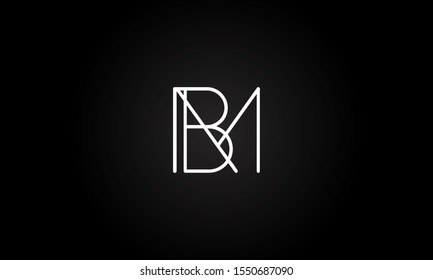 BM or MB initial based letter icon logo Unique modern creative elegant geometric fashion brands black and white color