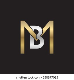 BM MB initial company square M shape silver gold logo black background