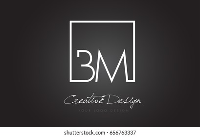 BM Square Framed Letter Logo Design Vector with Black and White Colors.
