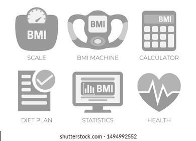 BMI Body Mass Index Calculation Gray Illustration Icon Set with BMI Machine,  Scale Measuring and Health, BMI Calculator Icons.
