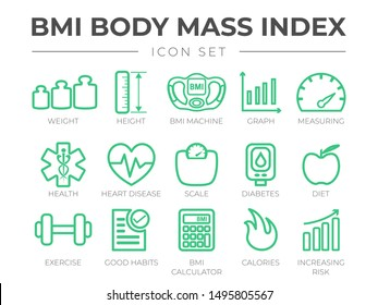 BMI Body Mass Index Outline Icon Set. Weight, Height, BMI Machine, Graph, Measuring, Health, Heart Disease, Scale, Diabetes, Diet, Exercise, Habits, BMI Calculator, Calories, Risk Icons.