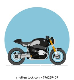 BMW R nine T Cafe Racer Cartoon Flat Style