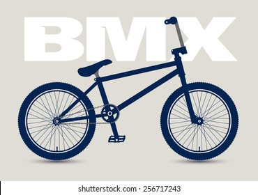 BMX Bicycle isolated and monochrome, high detailed silhouette.