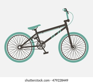 BMX bicycle; Minimalistic flat bicycle illustration vector