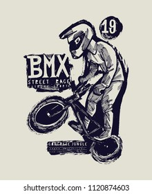 bmx bicycle vintage typography grungy millenial street style t-shirt print