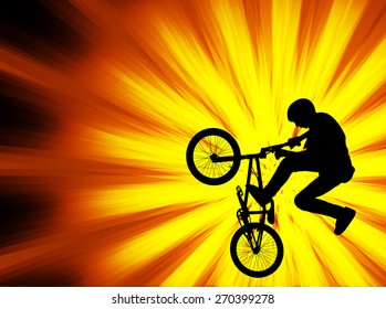 bmx bicyclist silhouette on the abstract background