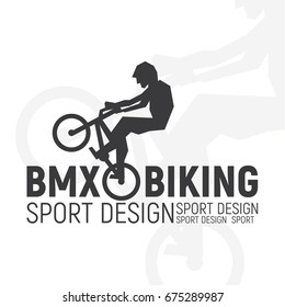 Bmx bike logo guy on a bicycle in a jump, extreme sport vector illustration of a flat art