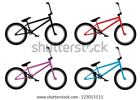 Bmx Bike Set Black Red Blue Stock Vector (Royalty Free) 123015511 ...