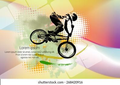 BMX biker. Vector