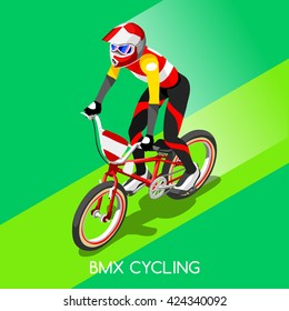 BMX Cyclist Bicyclist Athletes Sportsman Games. 3D Isometric Athlete. Sporting Championship People Competition. Sport set Infographic BMX Cyclist Bicyclist Race events Vector Image