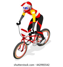 BMX Cyclist Bicyclist Athletes Sportsman Bicycle Games. 3D Isometric Athlete. Sporting Championship People Competition. Sport Infographic BMX Cyclist Bicyclist Race events Vector Image