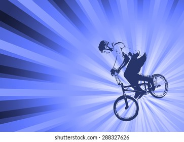 bmx cyclist on the abstract background