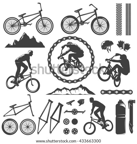 BMX Decorative Graphic Icons Set Bike Stock Vector (Royalty Free ...