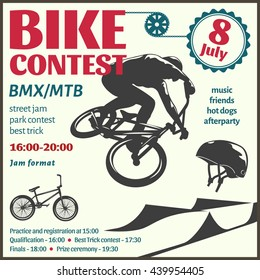 BMX event flyer with bicyclist in center helmet chain gear road text on white background vector illustration