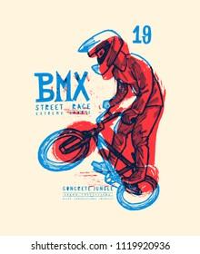 bmx extreme bicycle tricks - grungy vintage typography t-shirt print