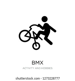 bmx icon vector on white background, bmx trendy filled icons from Activity and hobbies collection, bmx simple element illustration