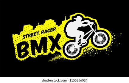 Bmx racer, emblem in grunge style on a dark background.