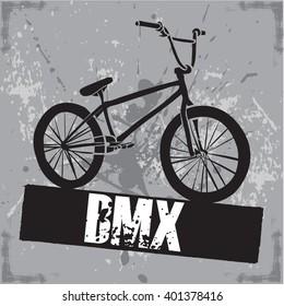BMX Sport print for t-shirt. Bike modern street style attributes. Vector art.