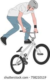 bmx stunt bicyclist illustration - vector