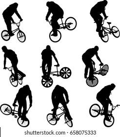 BMX stunt cyclist silhouettes - vector