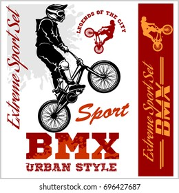 BMX t-shirt Graphics. Extreme bike street style - Vector BMX cyclyst on white