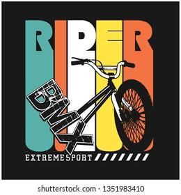 BMX/RIDER typography design,vector illustration