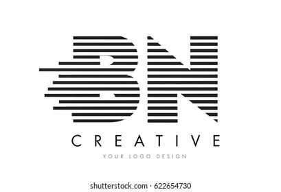 BN B N Zebra Letter Logo Design with Black and White Stripes Vector