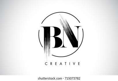 BN Brush Stroke Letter Logo Design. Black Paint Logo Leters Icon with Elegant Circle Vector Design.