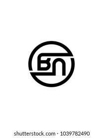 BN initial circle logo template vector