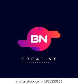 BN Initial Letter logo icon design template elements with wave colorful art.