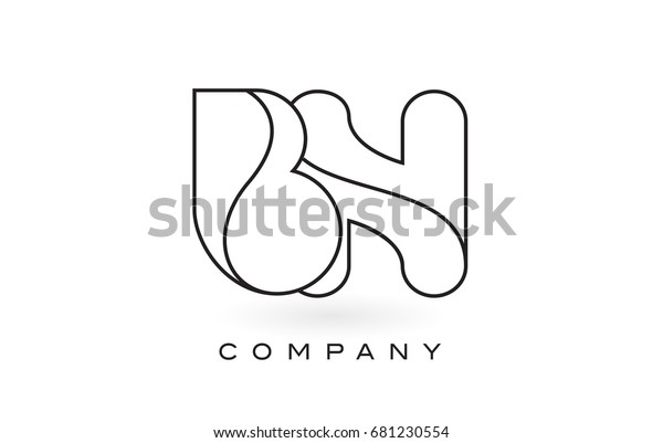 Bn Monogram Letter Logo Thin Black Stock Vector Royalty Free 681230554
