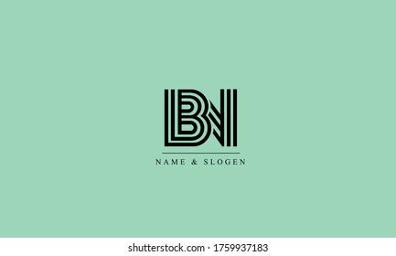 BN NB abstract vector logo monogram template