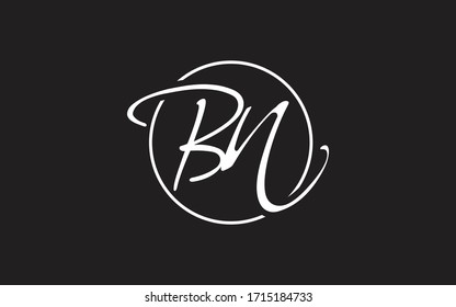 BN or NB and B, N Uppercase Cursive Letter Initial Logo Design, Vector Template