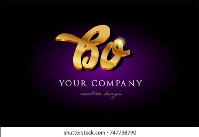 bo  b o alphabet combination letter logo in gold golden 3d metal beautiful typography suitable for banner brochure design