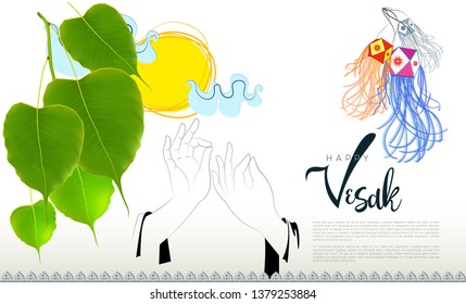 Bo Leaves, Hand mudra & Vesak Lanterns vector