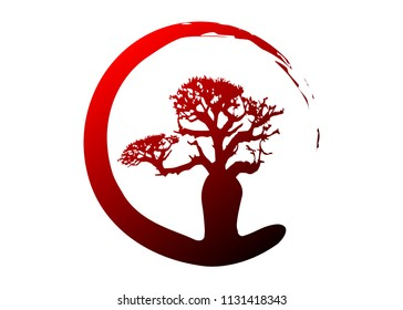 Boab or Baobab Tree Vector isolated, multi color tropical tree silhouette logo concept icon