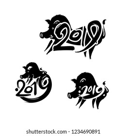 Boar 2019. Pig 2019. Set of three handwritten templates with the inscription and pig. Black vector template isolated on white. Imitation of painting with brush and ink. New Year on the Chinese calenda