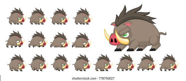Boar animated game character for creating video games