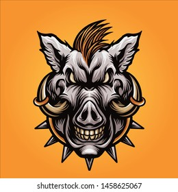 boar head mascot logo design