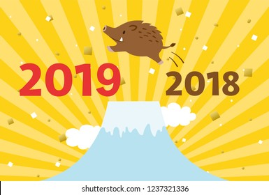 A boar jumping from 2018 to 2019.