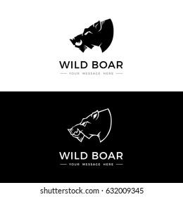 Boar logo, label, icon design. Abstract boar head silhouette. Vector illustration.